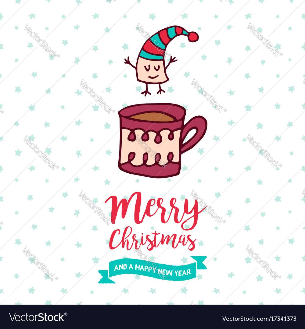 Christmas and new year cute marshmallow cartoon