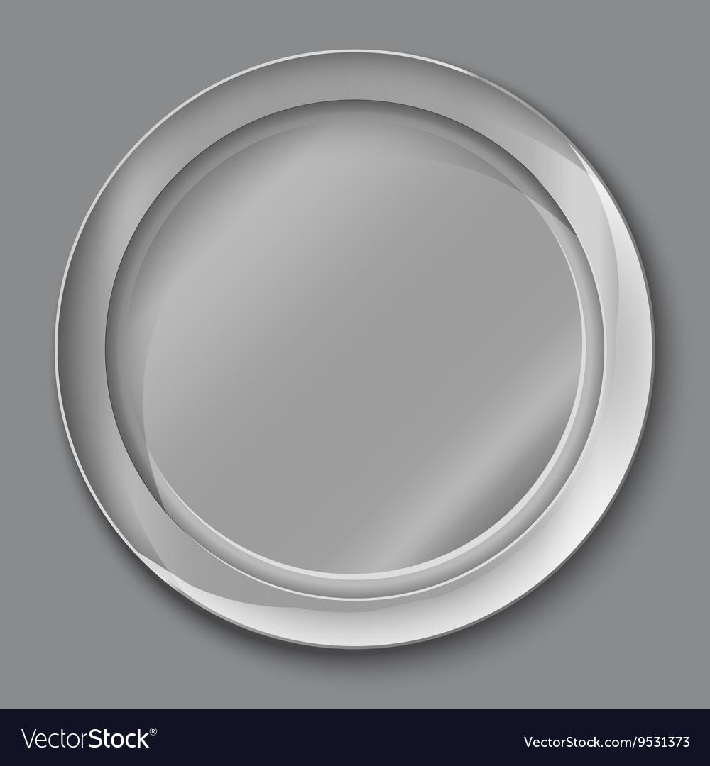 Empty Silver Plate Royalty Free Vector Image Vectorstock