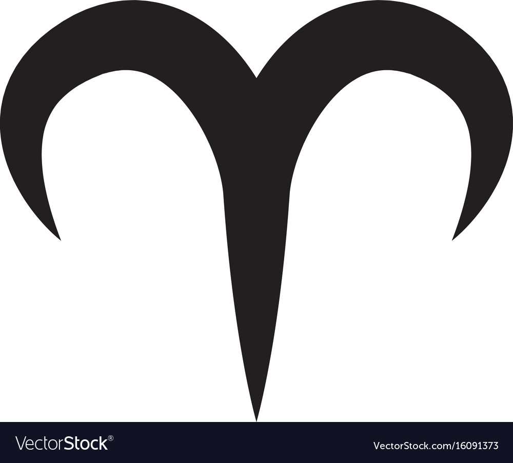 Flat Black Aries Sign Icon Royalty Free Vector Image