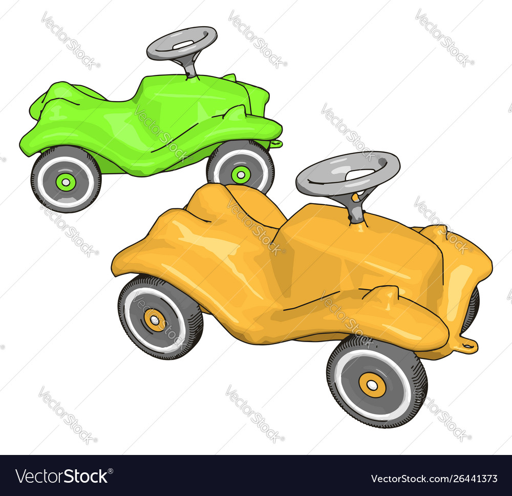Green and yellow kids car on white background