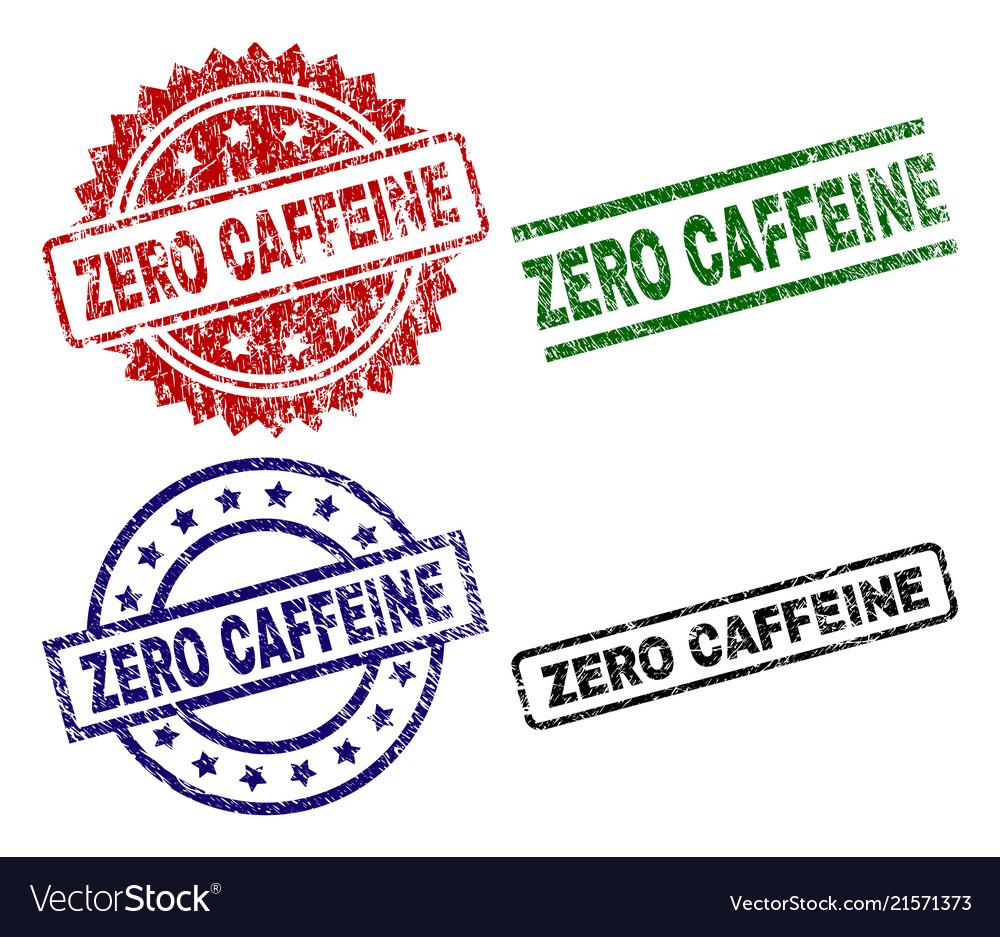 Grunge textured zero caffeine stamp seals