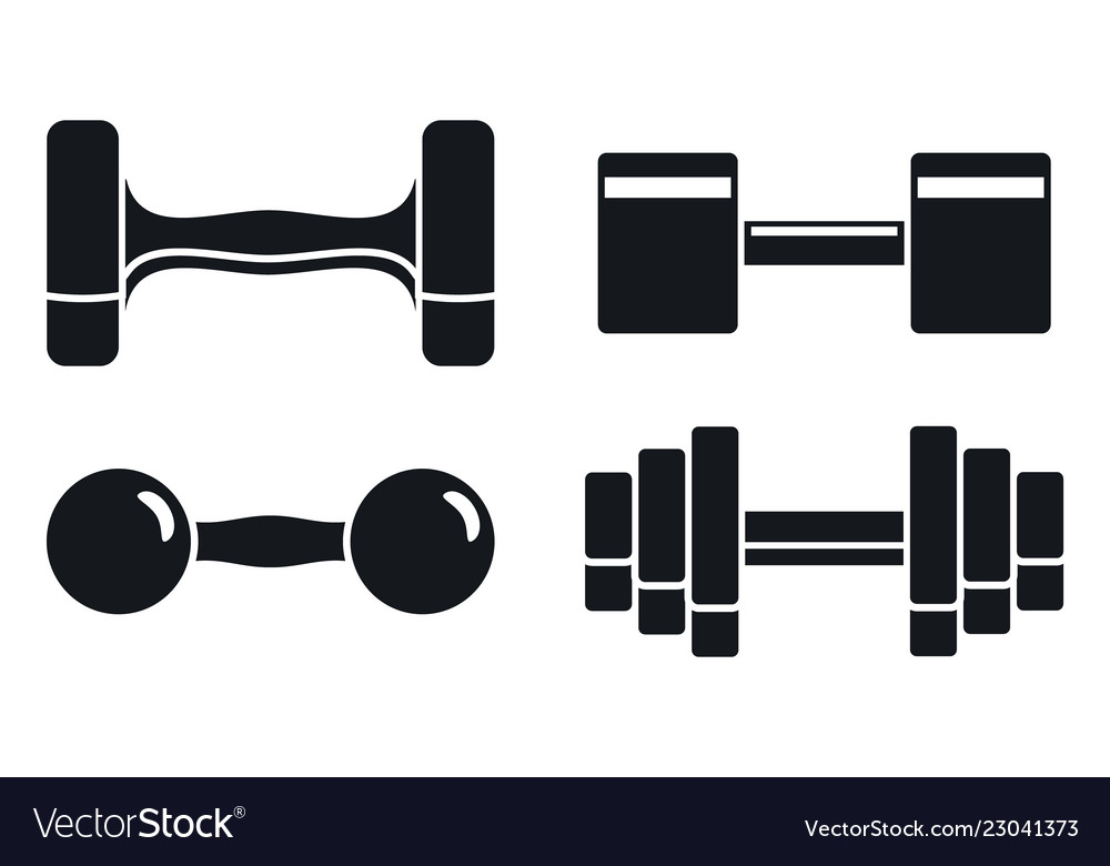 Gym dumbell icon set simple style