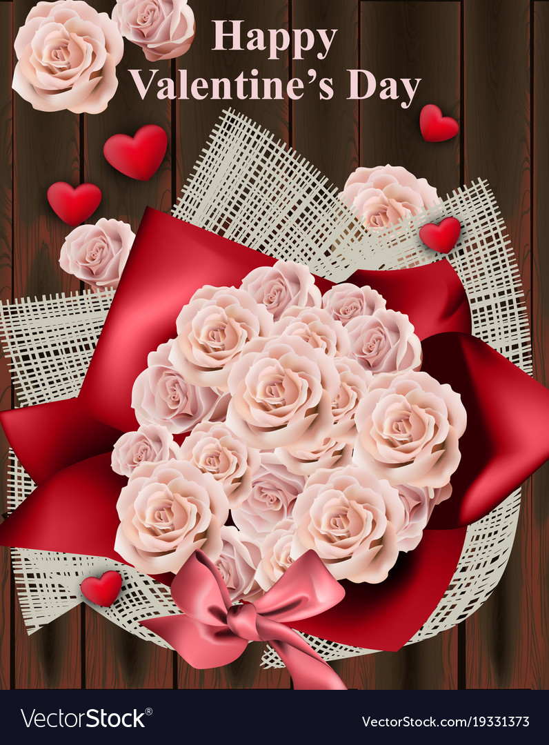 Happy valentine day card with roses bouquet