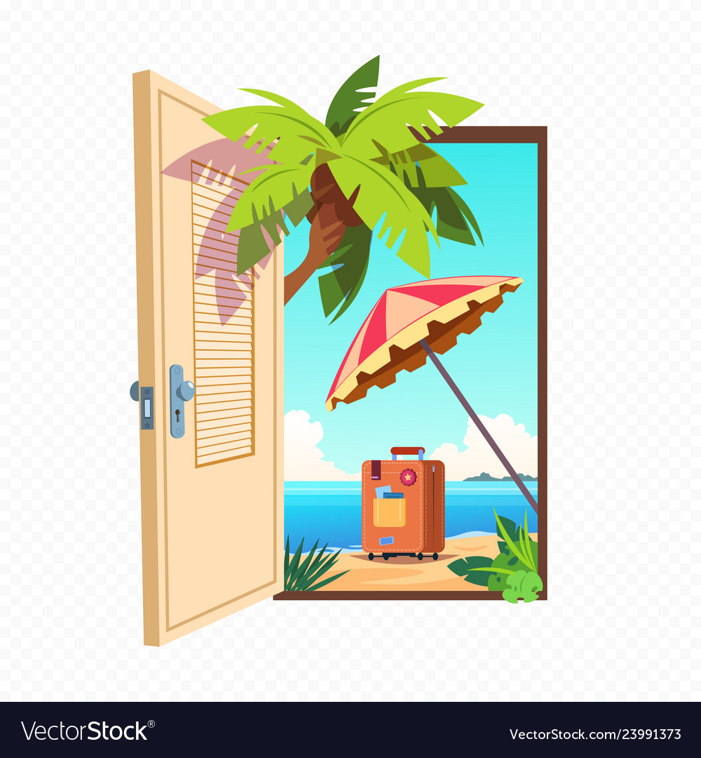 Opened spring door isolated on transparent