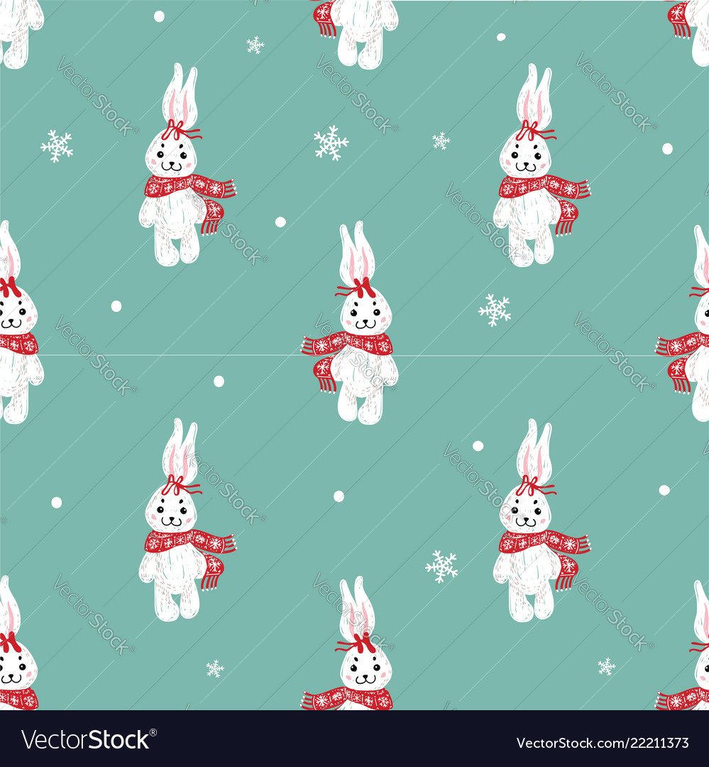 Seamless pattern with cute bunny in scarf can be