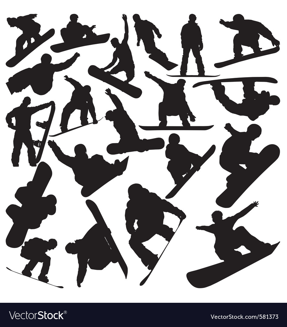 Snowboarder silhouettes vector image