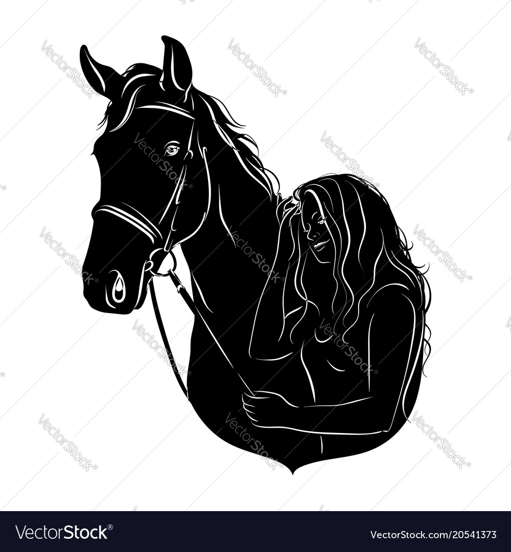 Stylized silhouette of a horse with a beautiful