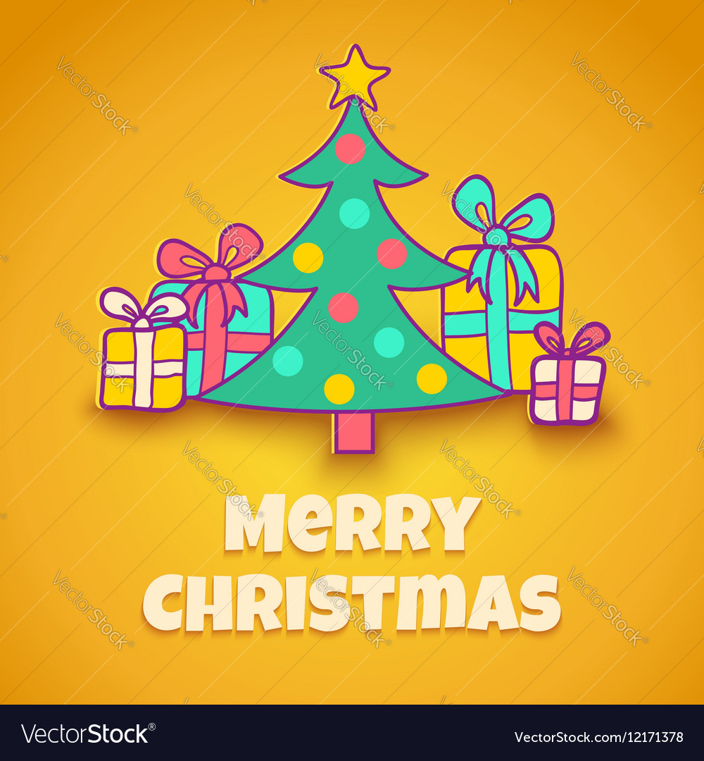 Christmas tree yellow vector image