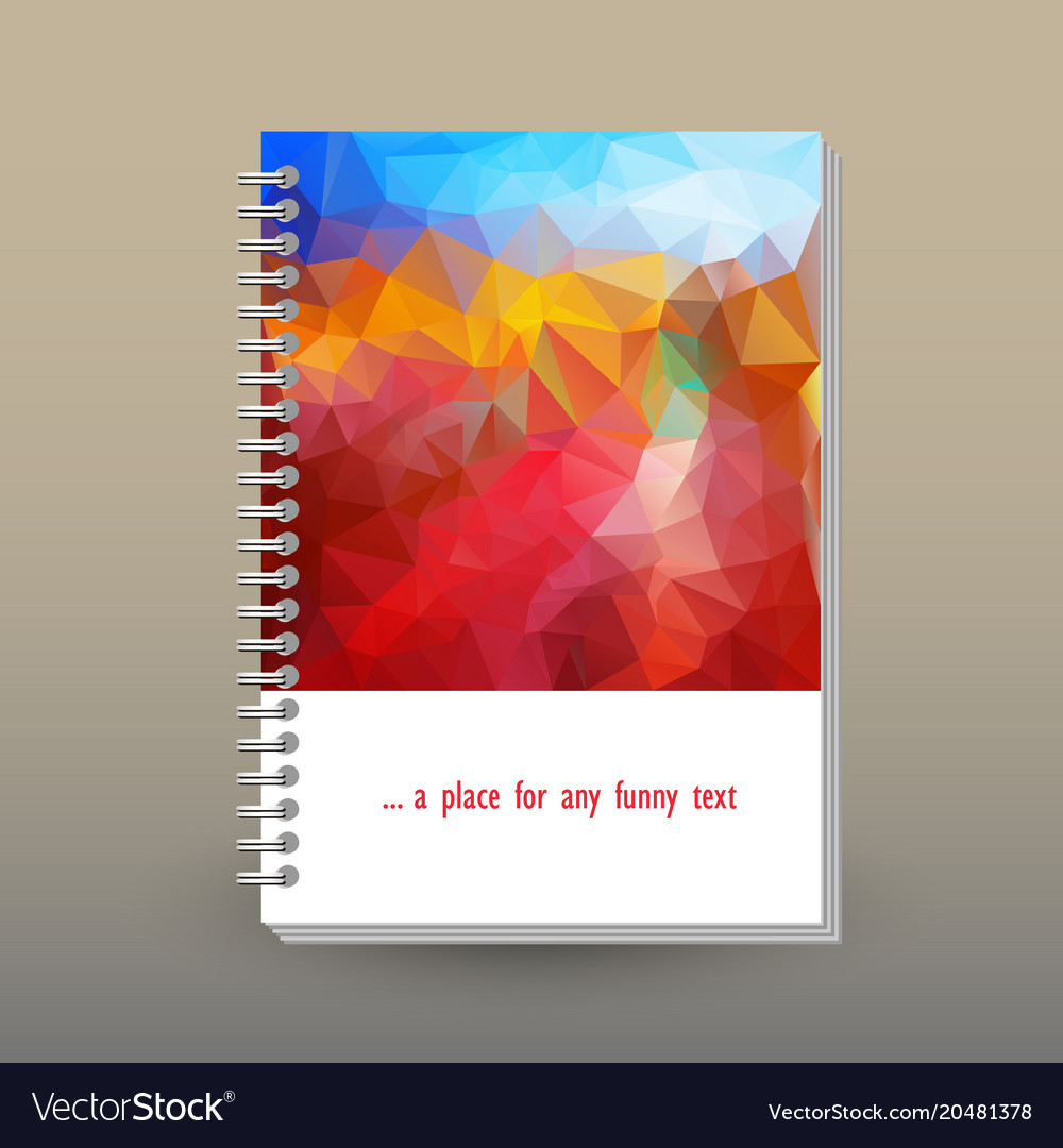 Cover of diary blue sky red landscape polygonal