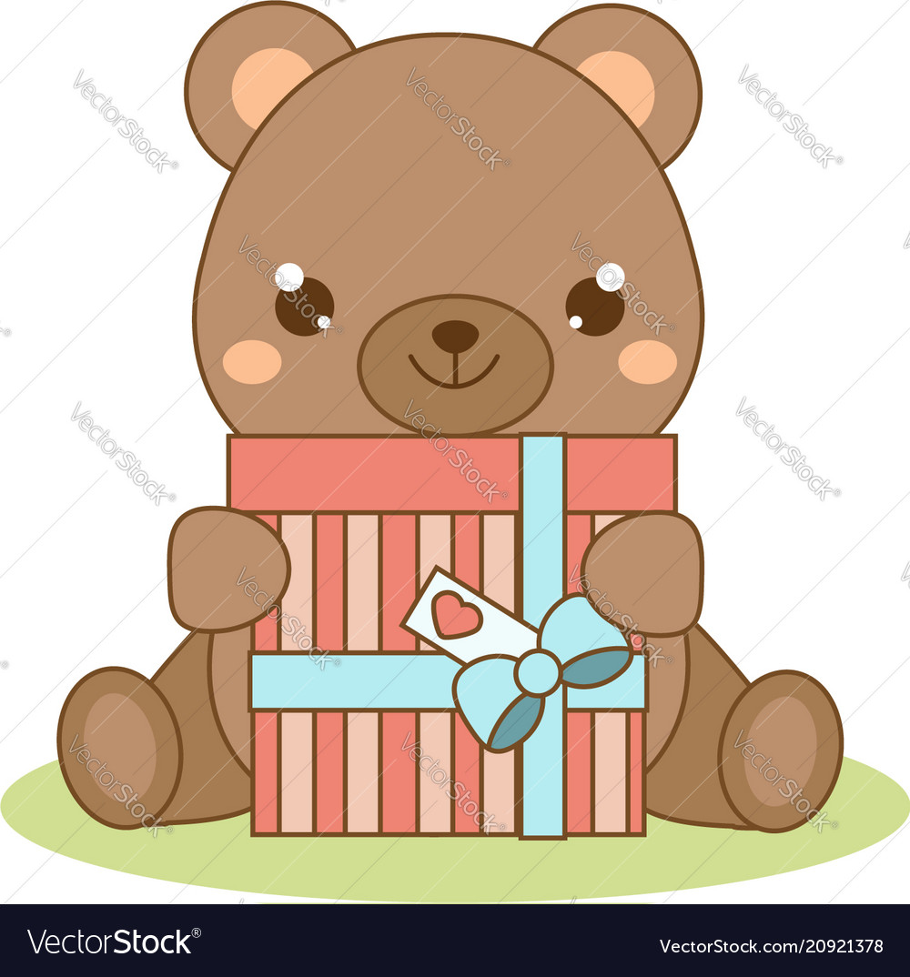 cute teddy bear holding gift box kawaii style vector image