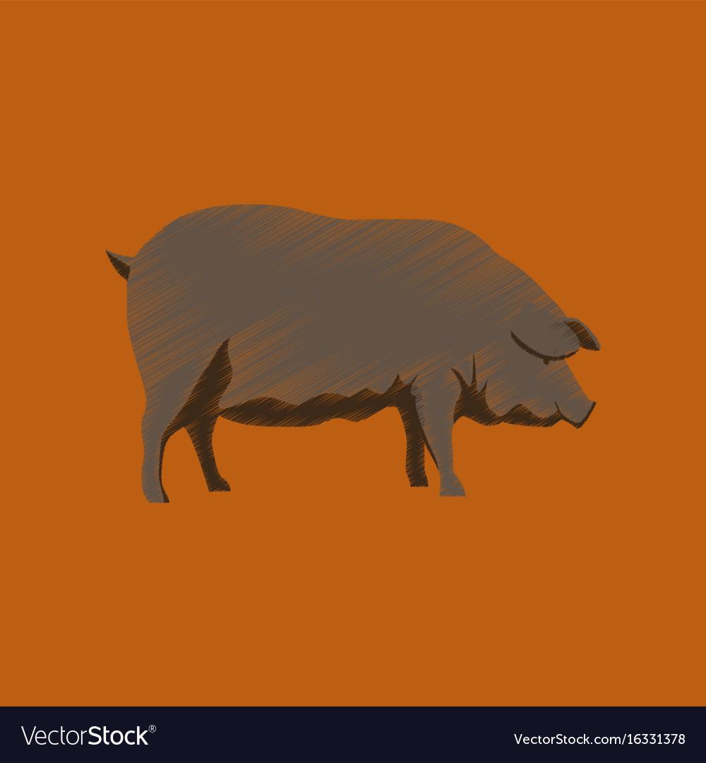 Flat shading style icon pig