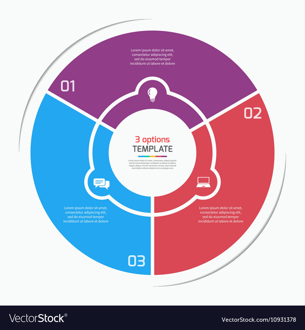 Flat style pie chart circle infographic template
