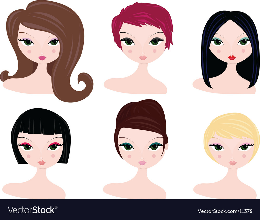 Hairstyles For Women Vector. Artist: spinsugar; File type: Vector EPS