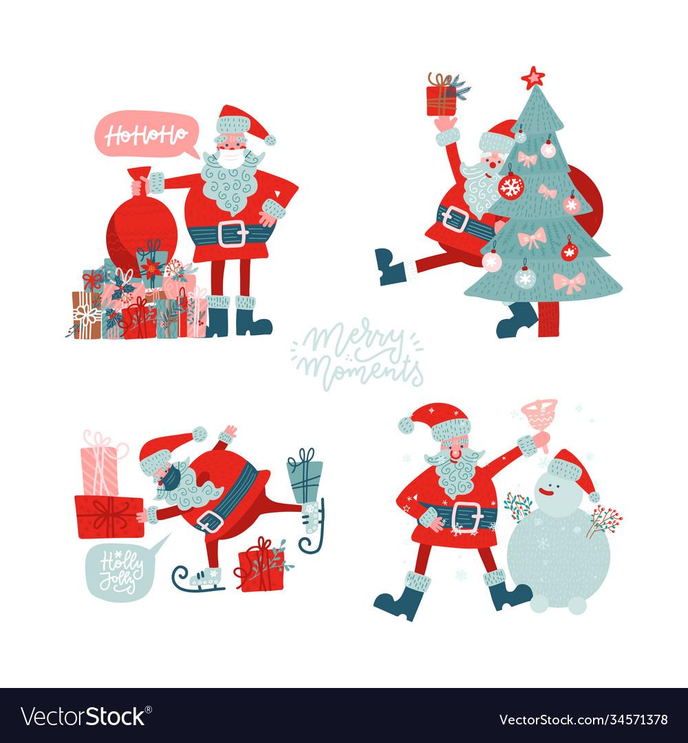 Santa clauses set for christmas flat hand drawn