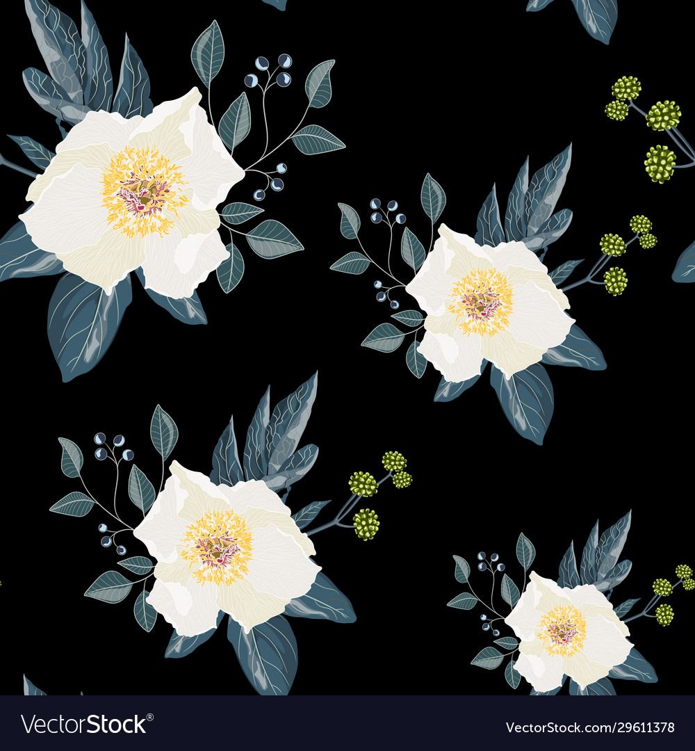 Seamless floral pattern with a cute white peony