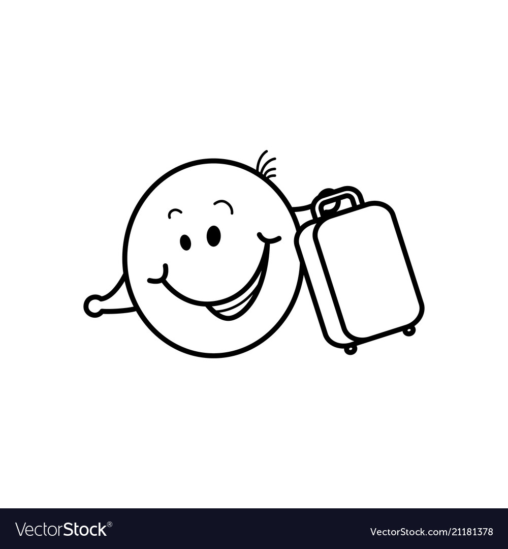 Smiley face traveler with suitcase loving travel
