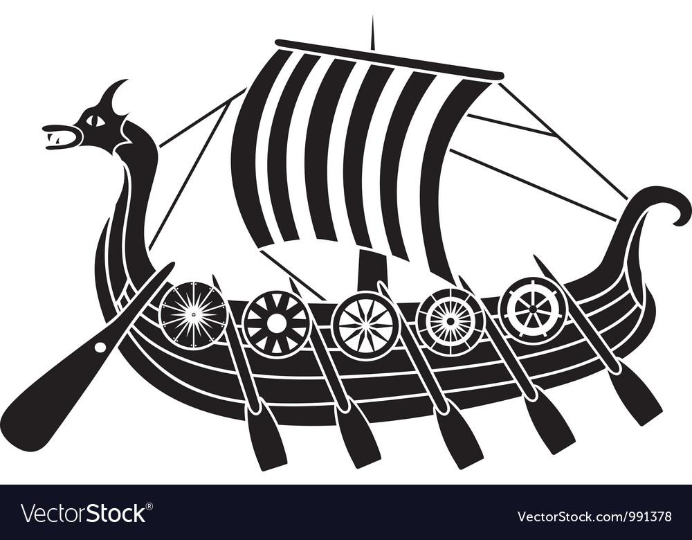 Vikings boat stencil Royalty Free Vector Image