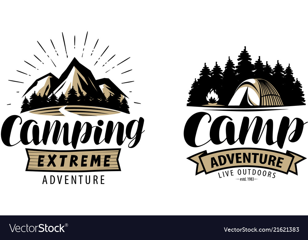 Camping camp logo or label outdoor recreation
