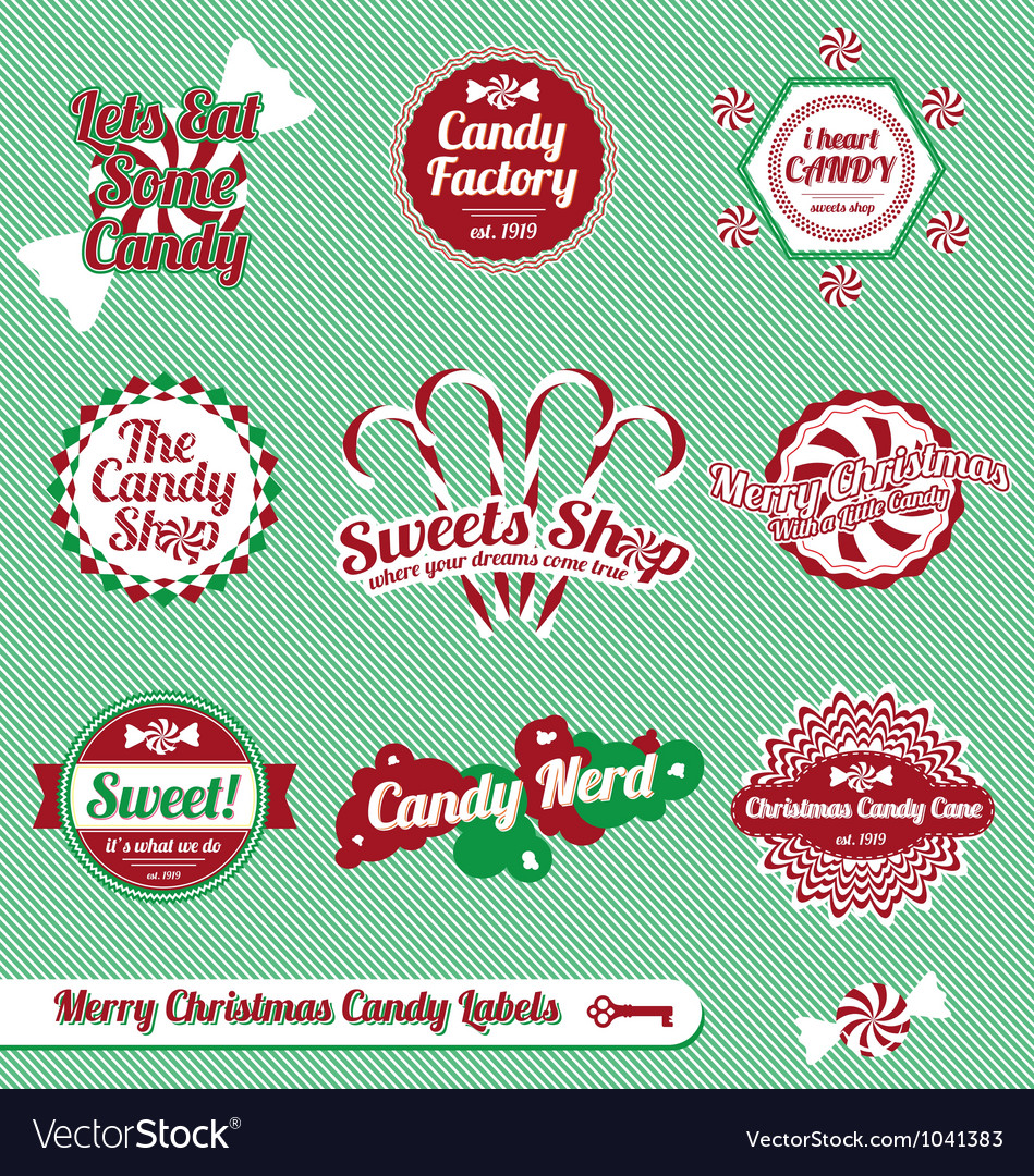 Christmas Candy Labels and Icons vector image