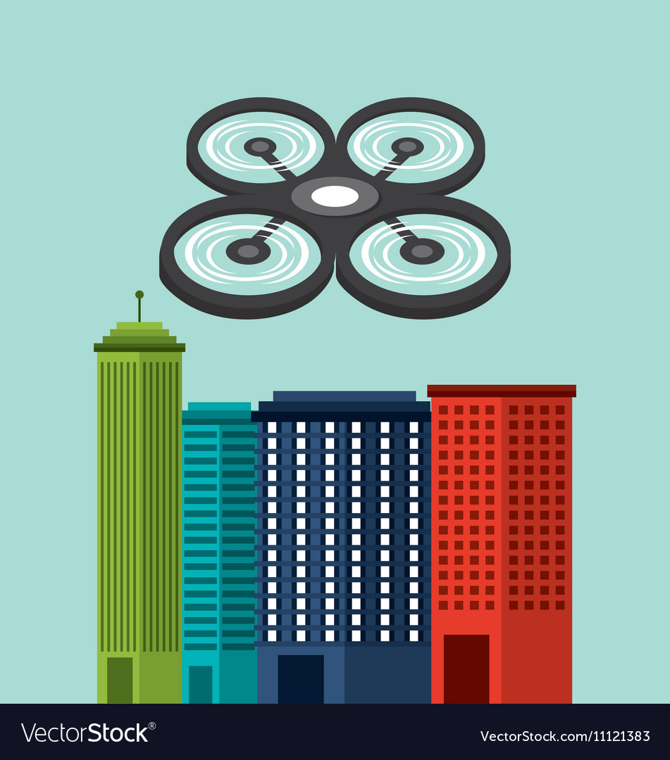 Cityscape buildings with drones flying