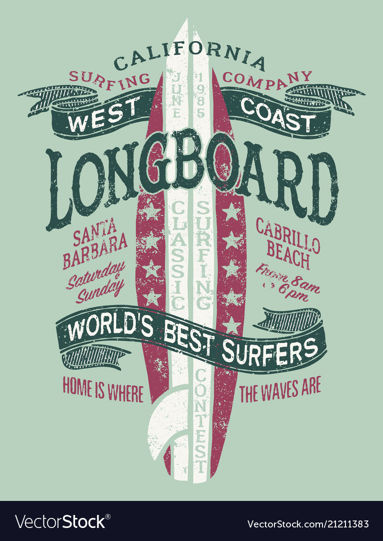 Classic longboard west coast california surfing