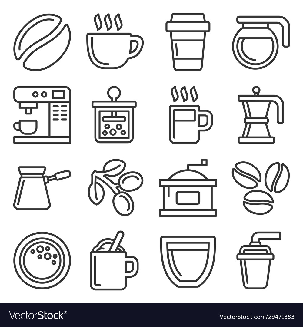 Coffee icons set on white background line style