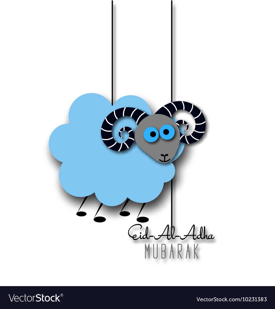 Eid-Al-Adha greeting card with sheep