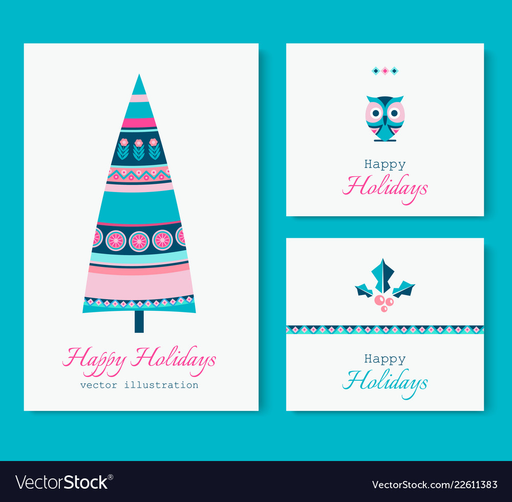 Ethnic style winter holidays cards set with tree