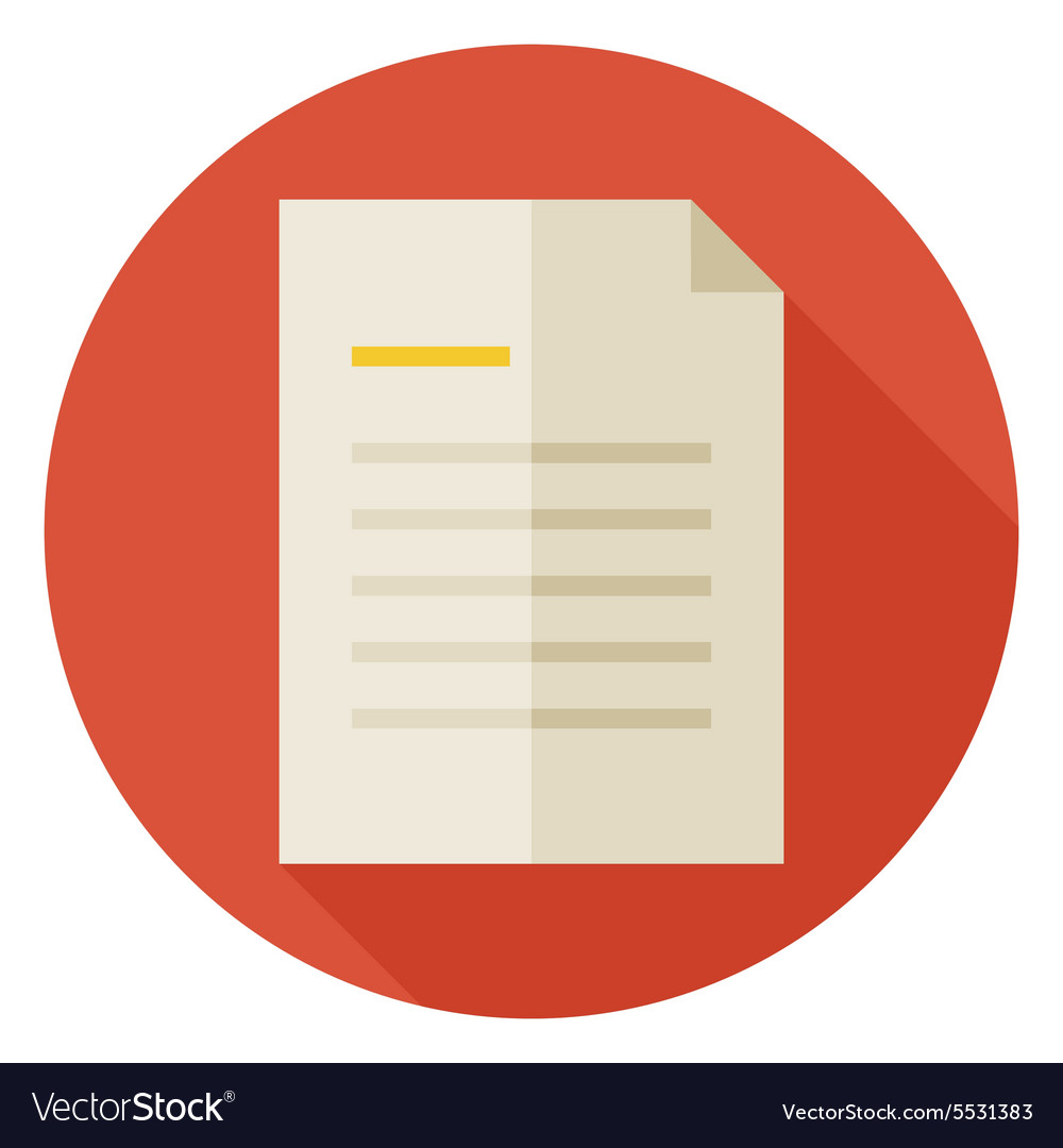 Flat Office Paper Letter Circle Icon with Long vector image