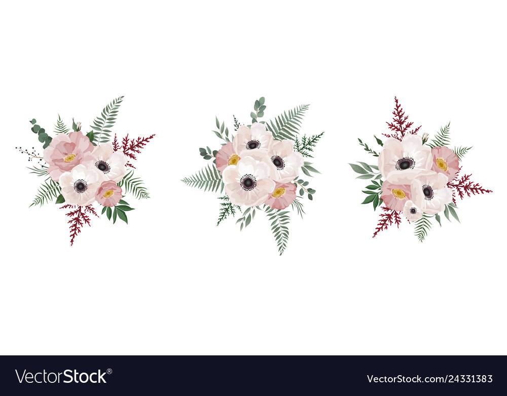 Floral bouquet design anemone eucalyptus