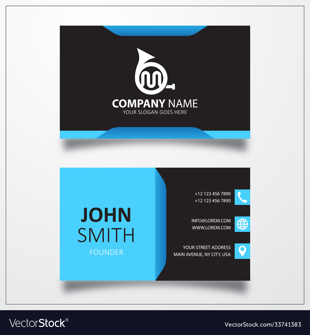 French horn icon business card template