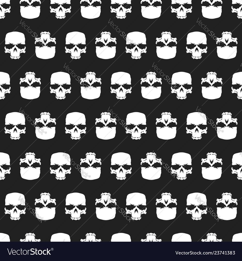 Grunge skulls seamless pattern background