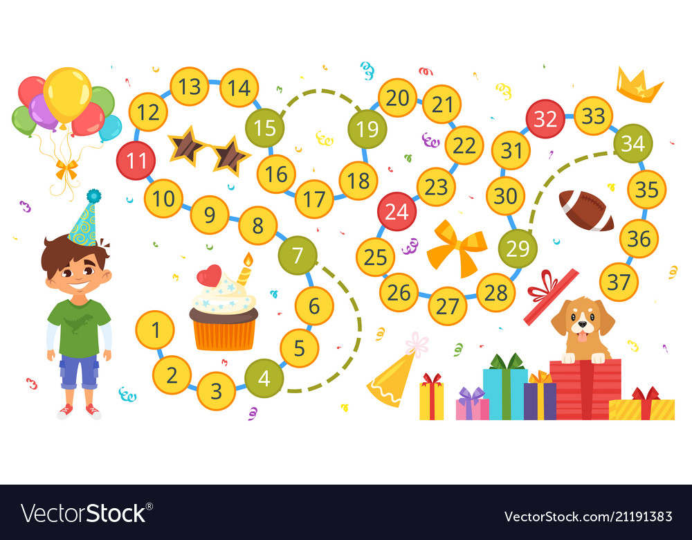 happy birthday board game template royalty free vector image
