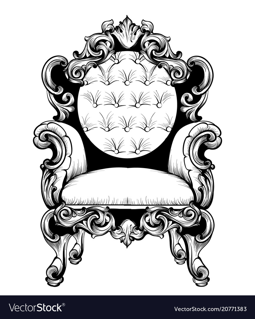 Imperial baroque armchair with luxurious ornaments vector image