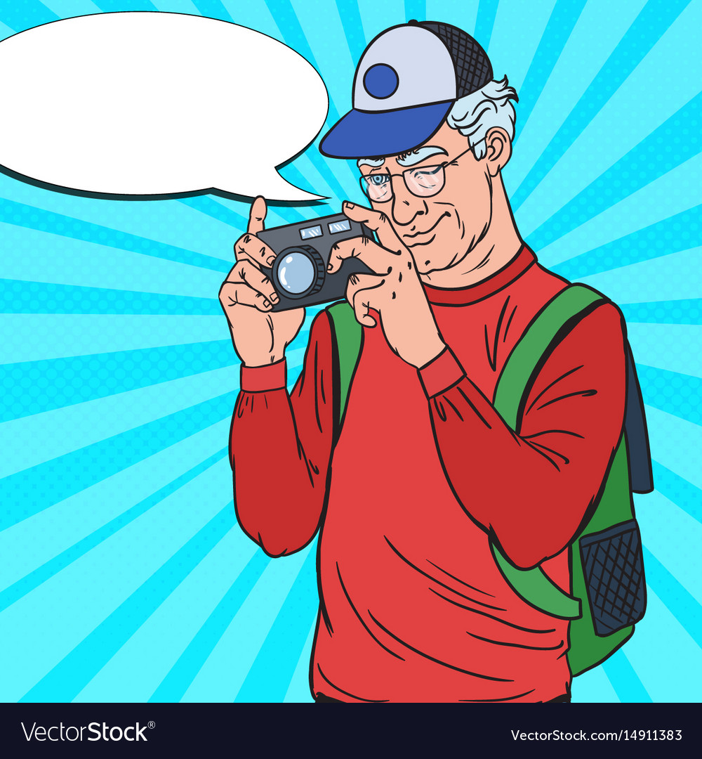 Mature man taking picture with camera pop art vector image