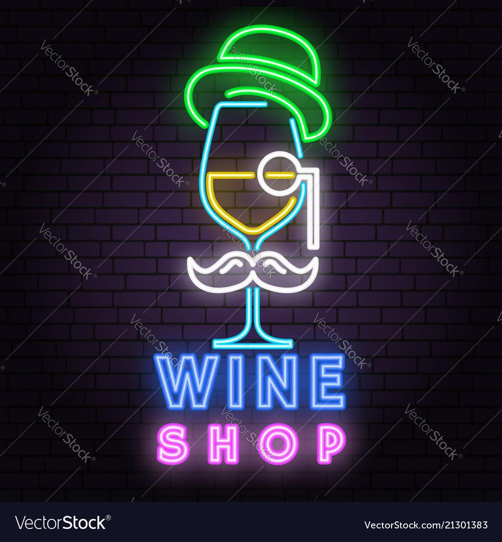 Retro neon wine sign on brick wall background