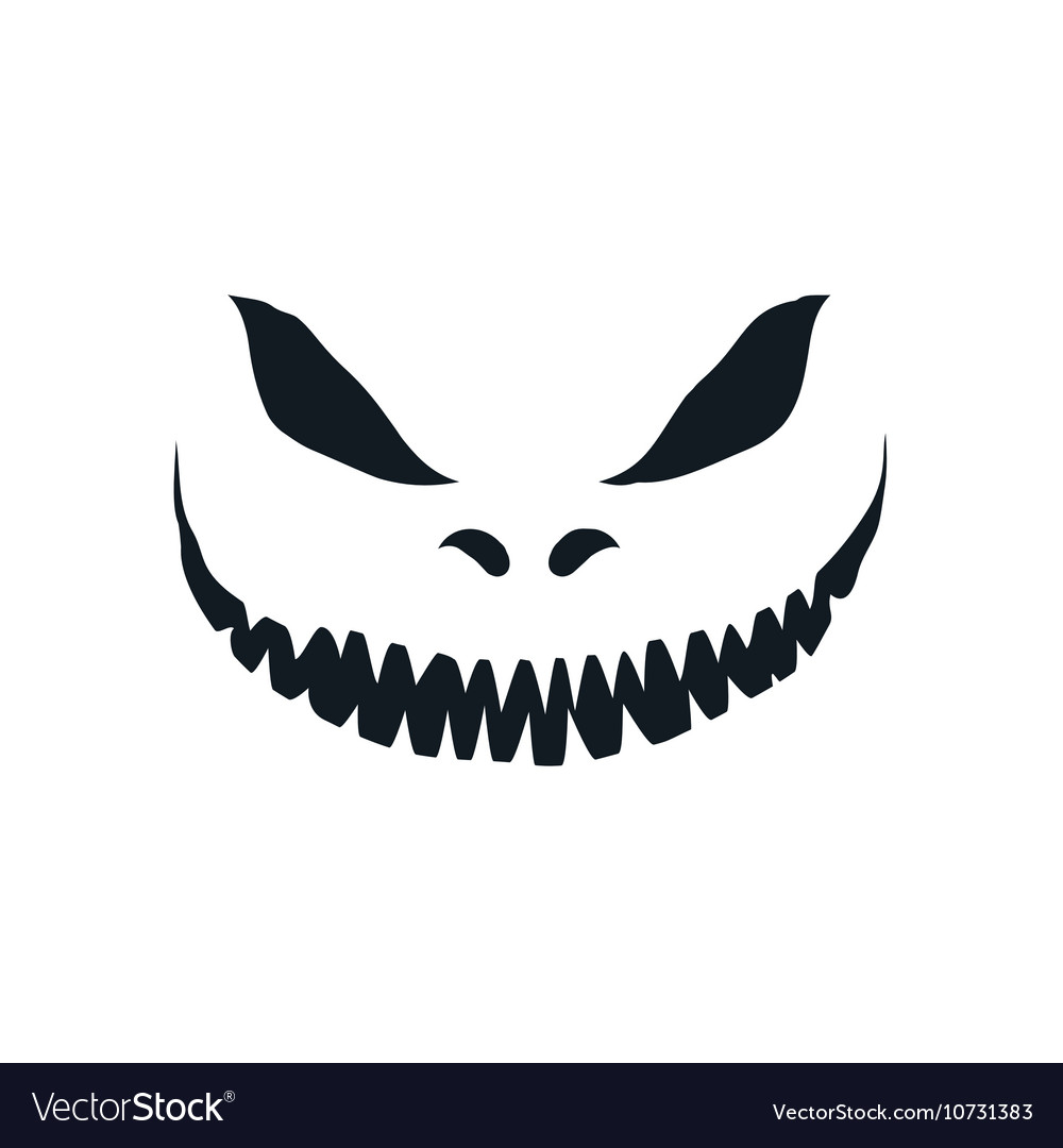 Scary face isolated on white background
