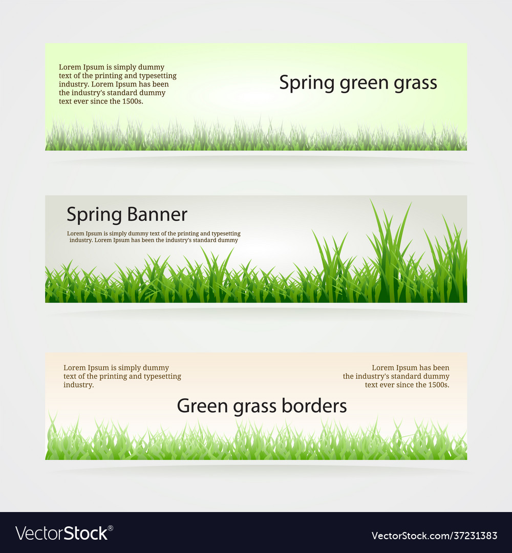 Set green grass banners in different shades of