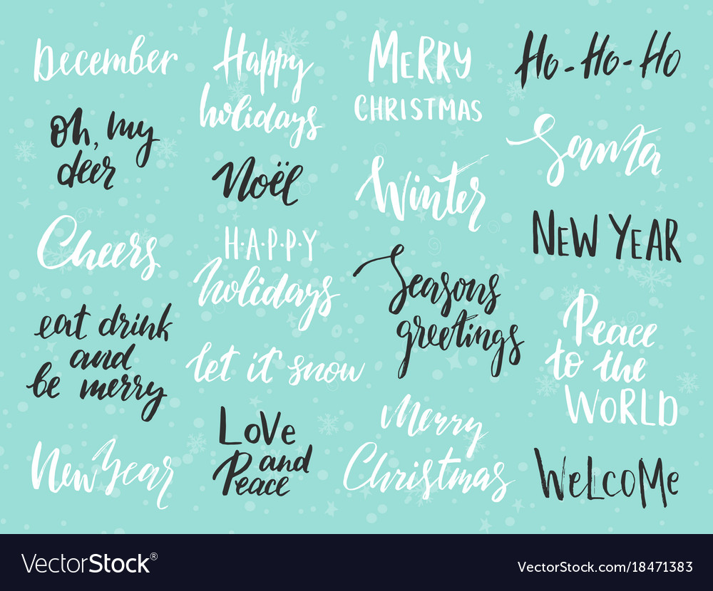 Set of merry christmas text hand drawn lettering