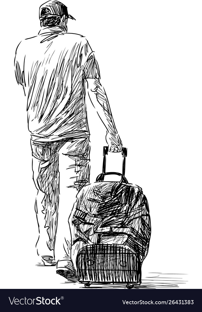 Sketch a citizen going away with his buggage