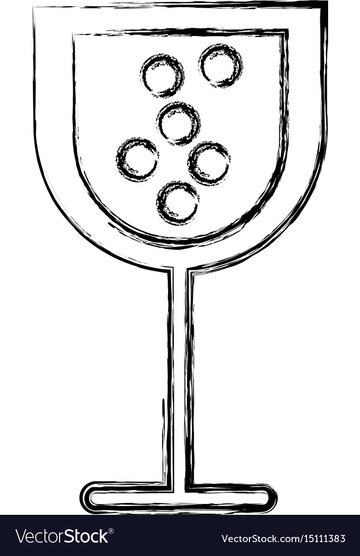 Sketch Draw Glass Wine Royalty Free Vector Image