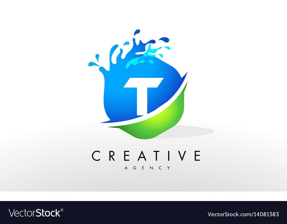 T letter logo blue green splash design