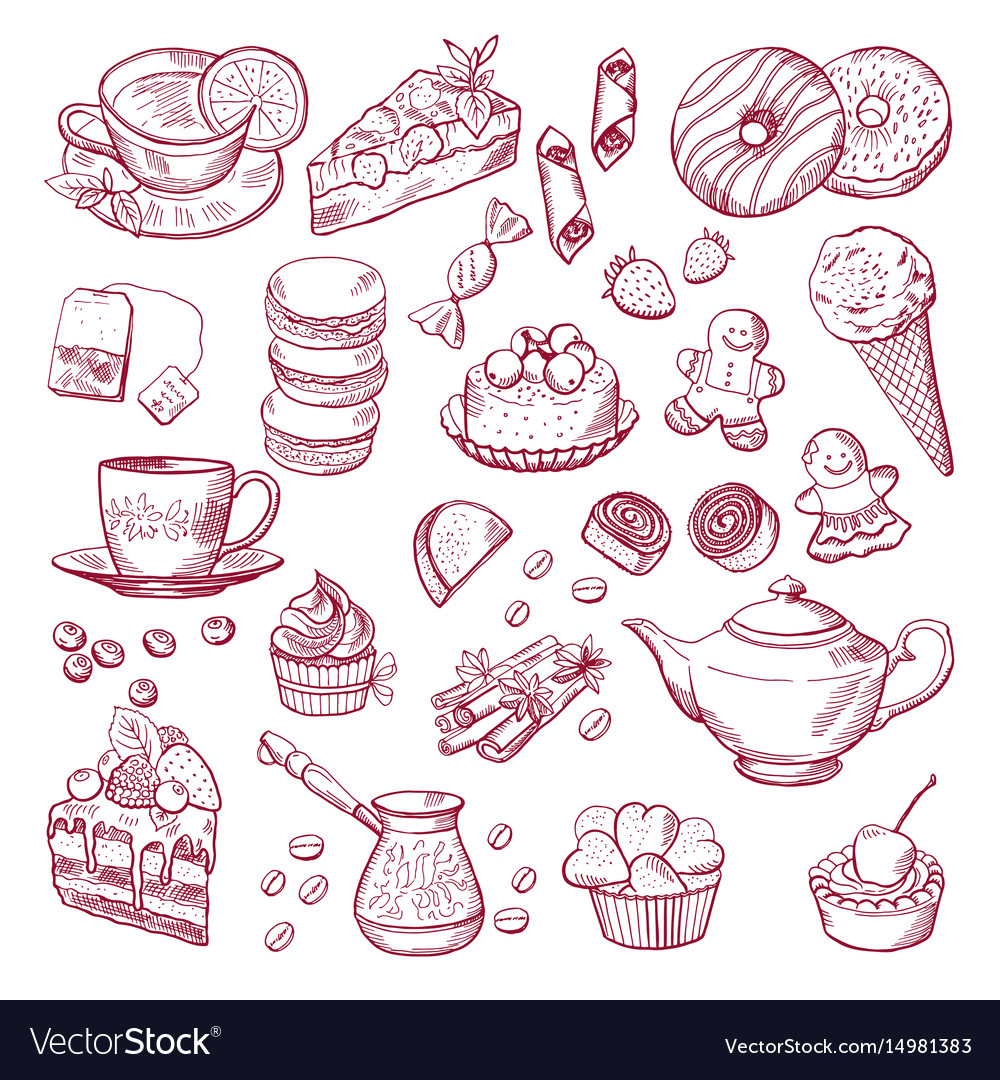 Tea and coffee different elements sweets vector image