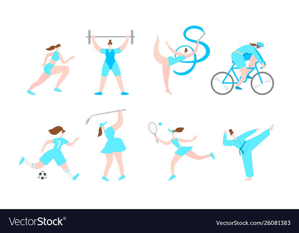 Women professional sport cartoon characters
