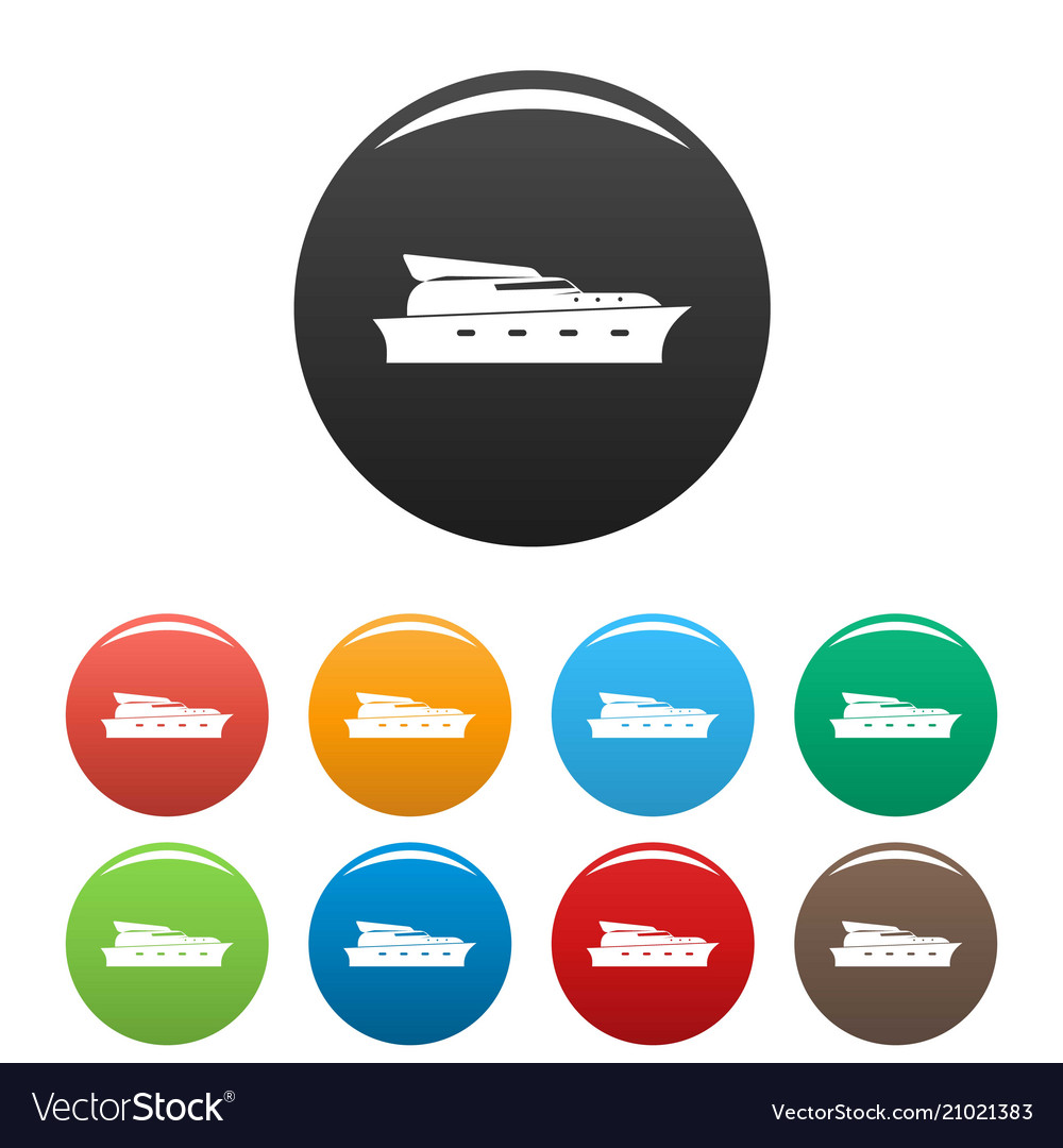 Yacht icons set color