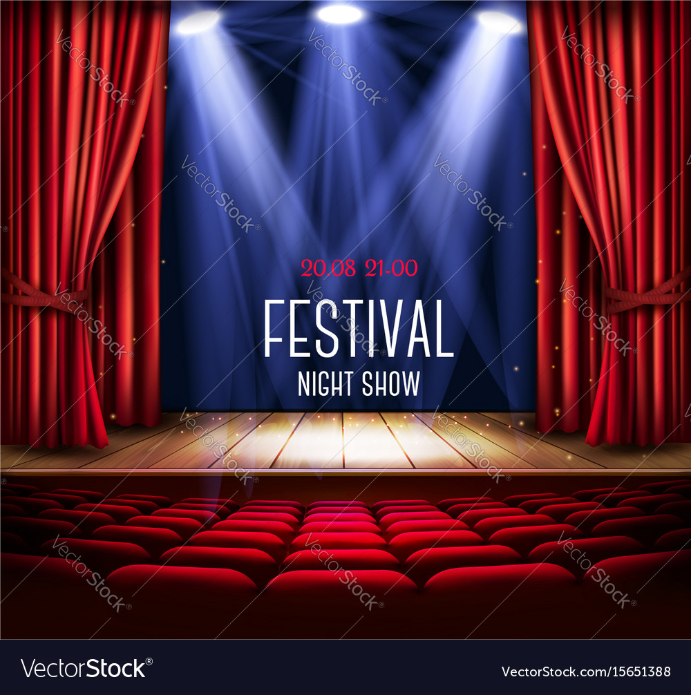 Background with a red curtain and a spotlight vector image