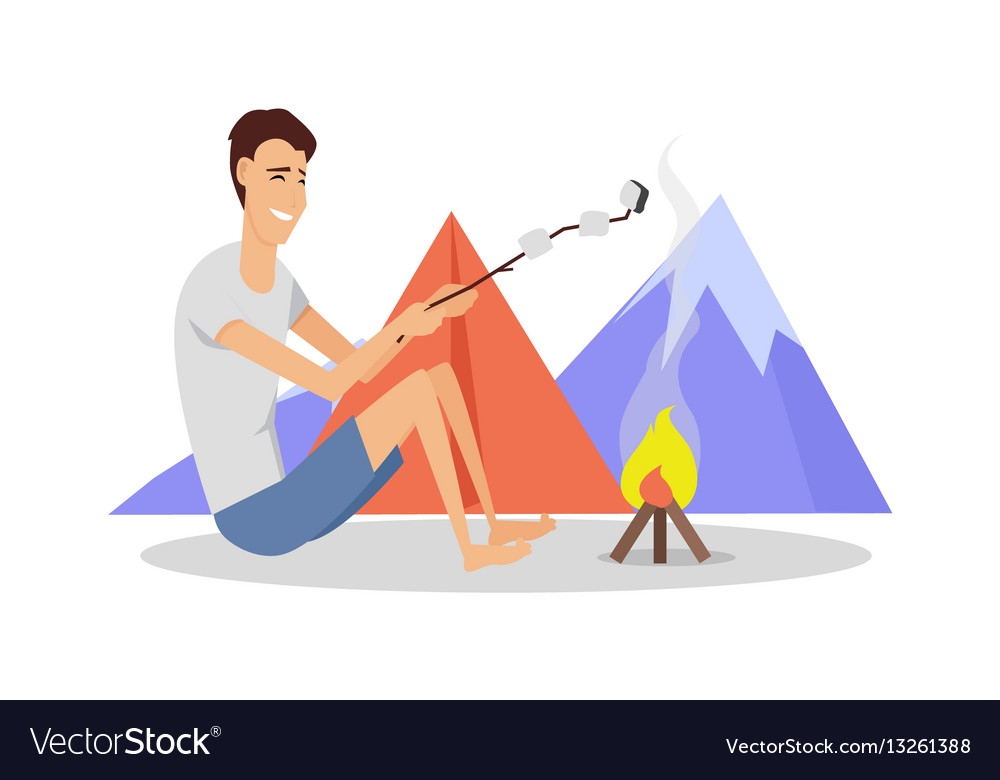 Camping tent near fire and mountains vector image