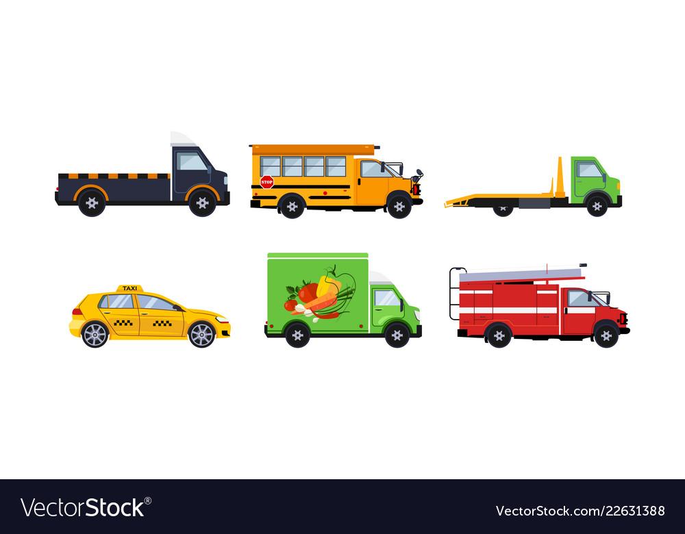 City transport set truck school bus tow truck