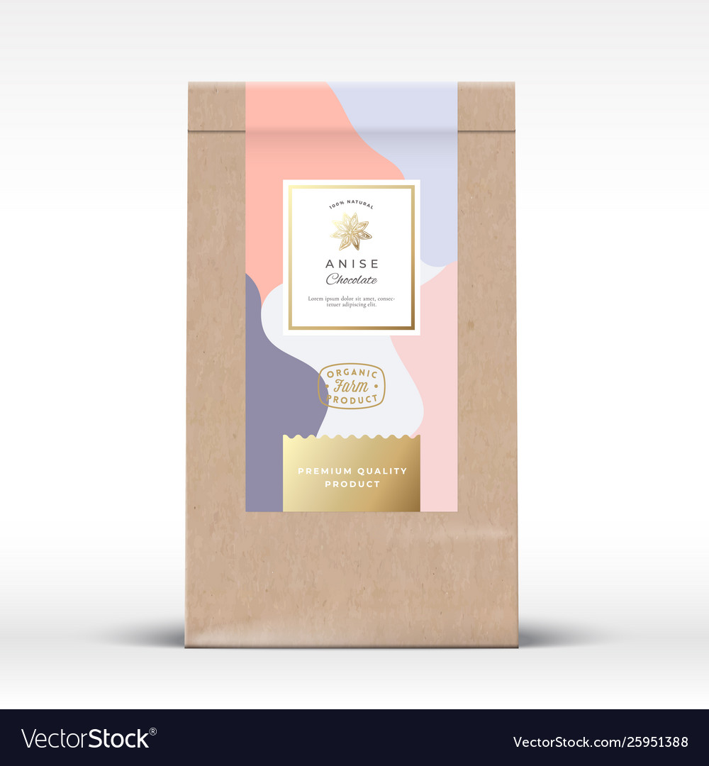 Craft paper bag with anise chocolate label