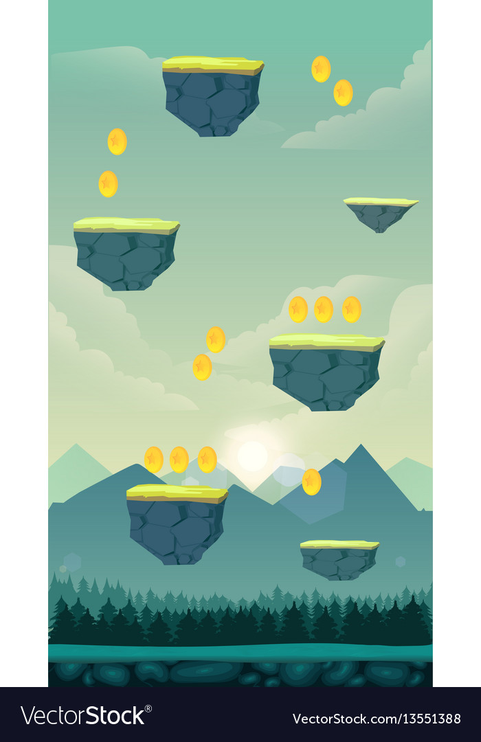 Funny cartoon nature landscape sunny day vector image